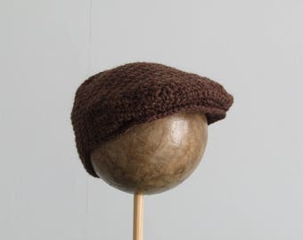 Flat cap in brown for your toddler 12-18 months - soft wool and alpaca  - dark brown - crochet cap - scully cap - train driver