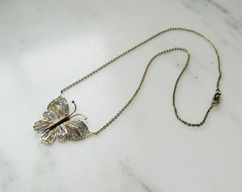 Sterling Silver Gold Vermeil Butterfly Necklace