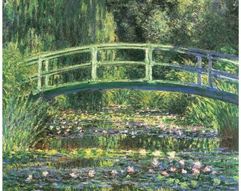 Hand-cut wooden jigsaw puzzle. WATER LILIES. Claude Monet. Impressionist. Impressionism. Wood, collectible. Bella Puzzles.