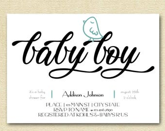 Modern Little Bird Baby Shower Invitation    Printable