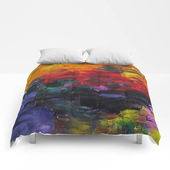 African Sunset Comforter, Bedding, Painting bedding, Unique, Abstract Comforter, Full, Queen, King, Dorm, texture, surreal, visionary art