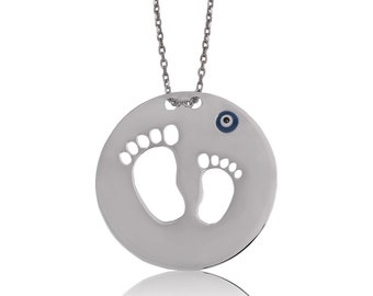 Sterling Silver Mother and Baby Footprint Pendant, Mother's Day Pendant