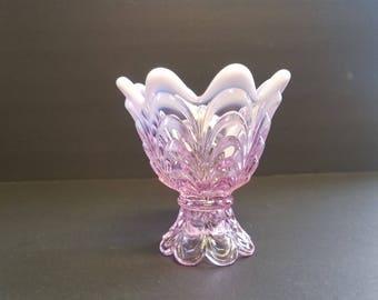 Vintage Fenton Pink Opalescent Glass Candle holder