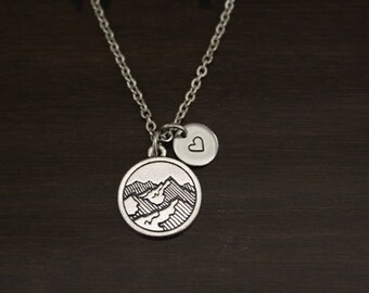 Mountain Necklace - The Mountains Are Calling And I Must Go - Wanderer Jewelry - Wander Necklace - Mountain Jewelry - Mountain Lover - I/B/H