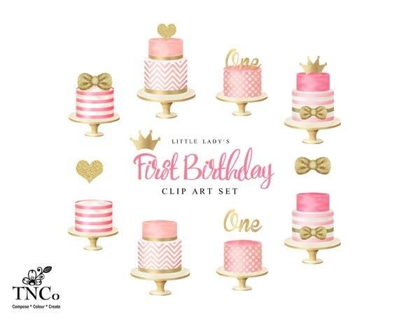 cake clip art girl s first birthday clip art tiered rh etsy com first birthday clip art free baby's first birthday clip art