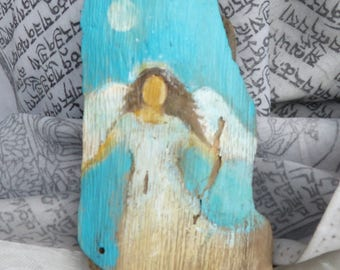 Original Angel Painting on driftwood ca. 8 x 4 inch Waldorf Art Angel Chakra Acrylic colors
