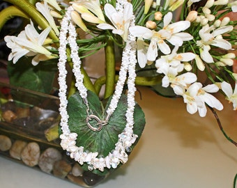 White Beaded Necklace Perfect for Bride or Beach, Shells and Glass Beads, Swarovski Crystals