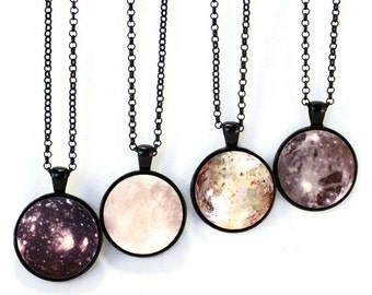 Europa Moon Necklace Science Planet Jewelry - Galilean, Jupiter Moons