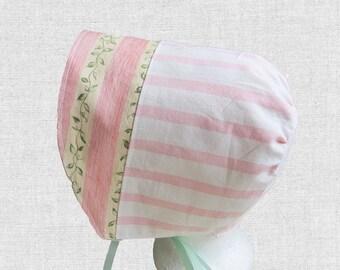 Pink Baby Sun Bonnet, Cotton Baby Hat, Baby Head Covering, Baby Girl Hat, Toddler Bonnet, Pink Baby Hat, Summer Infant Hat, Bon44