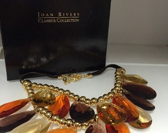 Joan Rivers Classics Necklace NIB Double Strand Teardrop Autumn Golden