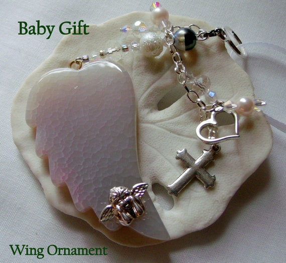 Christening Gift - new baby -  pink agate wing ornament -  angel memento -  protect my baby - Gemstone baby shower gift - for new Moms