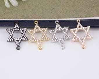 10pcs Metal Copper Micro Pave CZ Star connector Beads,Cubic Zirconia beads For Jewelry Making