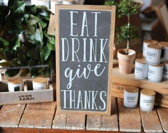 1'X2' Eat Drink Give Thanks Framed Wood Sign