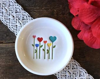 Blooming Hearts Ring Dish, Trinket Dish, Ring Holder Dish, Catchall Dish, Jewelry Dish, Ceramic Ring Bowl, Ready to Ship