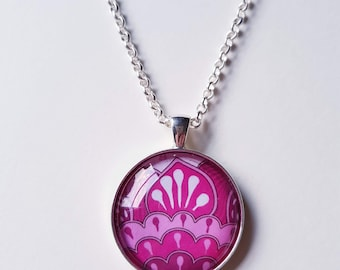 Fuchsia abstract, 30mm round pendant in silver or antique bronze, includes complimentary chain