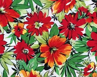 Tropical Floral Fabric Print Cotton Vintage Hibiscus