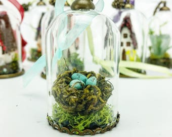 Robin's Nest Miniature Cloche Ornament