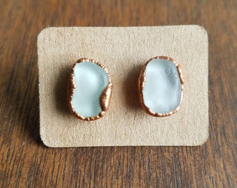 Beach Glass and Electroformed Copper Earrings