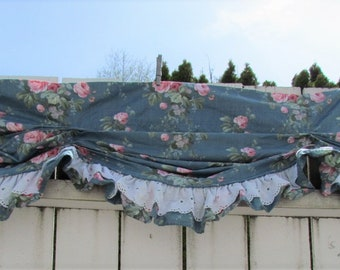 Croscill Blue Rose Balloon Window Valance, Shabby Cottage Rose Valance, RARE