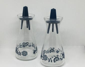 Vintage Pyrex Glass Cruet Set, Oil & Vinegar, Blue Flowers, Mid Century Kitchen
