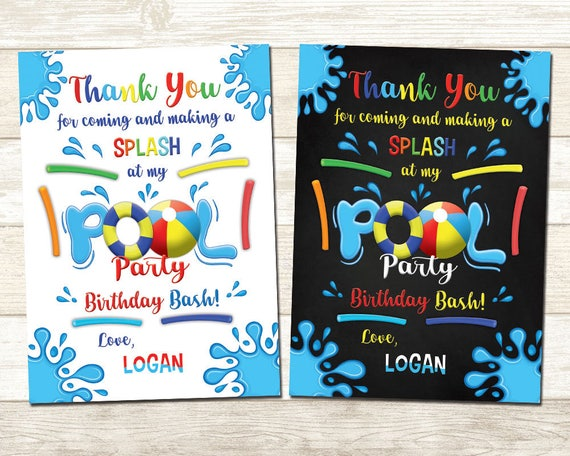 Pool Party Thank You Card Swimming Pool Thank You Card