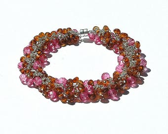 Hessonite Garnet & Cotton Candy Pink Topaz Cluster Bracelet / Sterling Silver / Gemstone / Wire Wrapped / Brown / Gifts for Her / OOAK