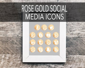 Rose Gold Social Media Icons | Metallic, Social Sharing Icons, Social Media Buttons, Social Vectors,  Blog Icons, Gold Foil, Gold Images