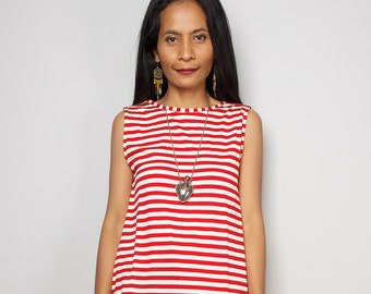 Red striped Top / Sleeveless Red and Cream T Shirt / Red Striped Tank Top : Urban Chic Collection No.4