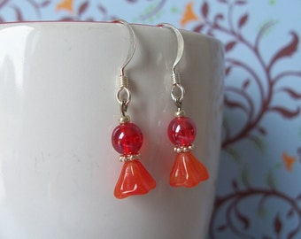 Crimson bell flower earrings