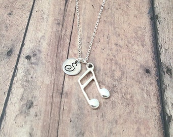 Music note initial necklace - music note jewelry, eighth note necklace, musician necklace, music teacher gift, silver music note pendant