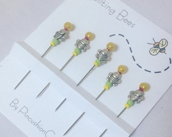 Decorative  Bee Pins  - Quilting Bees - Pincushion Charmers - Gift for Quilter - Fancy Sewing Pins - Sewing Accessory - Gift for Sewer