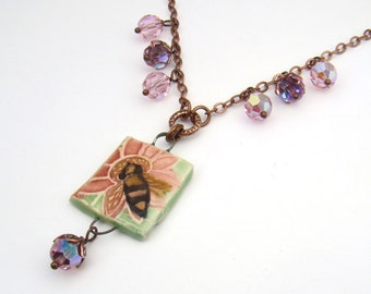 SALE Garden bee necklace with vintage pink Swarovski crystal beads, copper chain jewelry 19 1/4 inches long