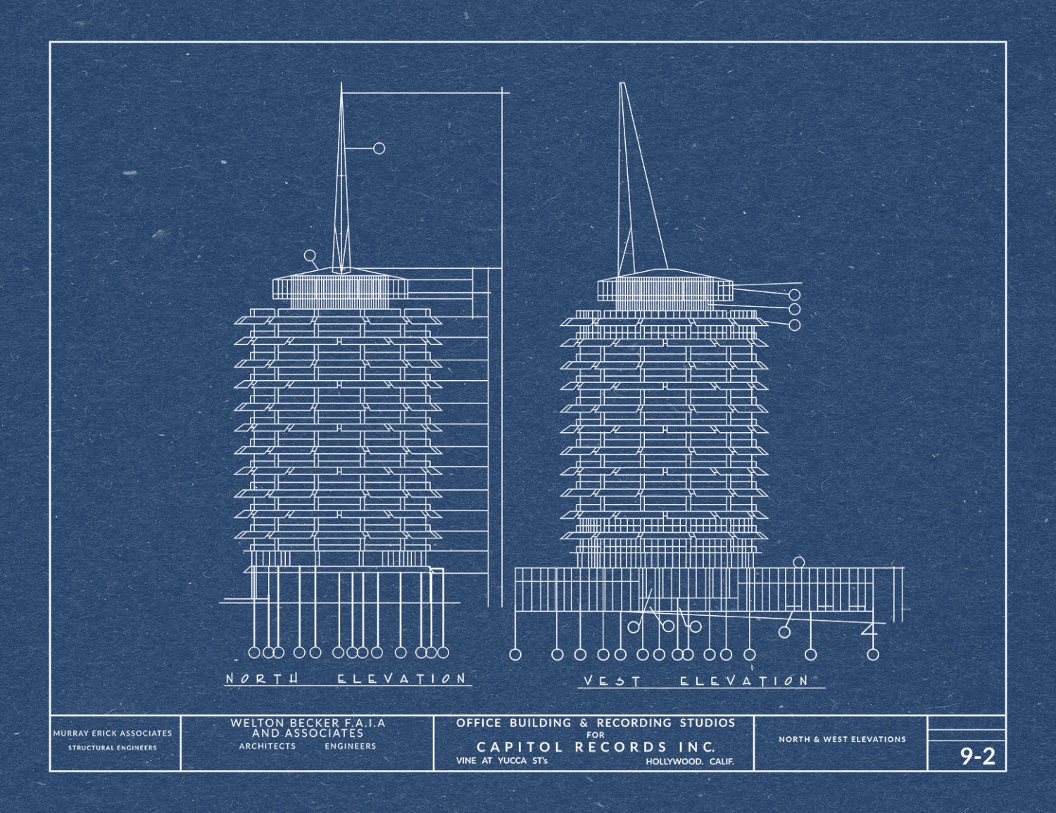 Print of vintage capitol records building blueprint on your choice print of vintage capitol records building blueprint on your choice of photo paper matter paper or stretched canvas malvernweather Choice Image