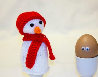 Egg Cosy Snowman, Hand Knitted Snowman, Hand Knitted, Knitted Egg Cozy, Winter Egg Cosy, Egg Warmers