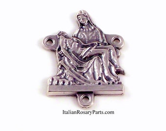 La Pieta Rosary Center Medal Virgin Mary and Jesus | Italian Rosary Parts