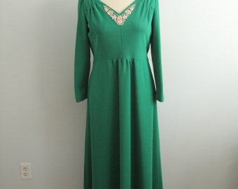 1970's Emerald Green Evening Gown with Lace Detail