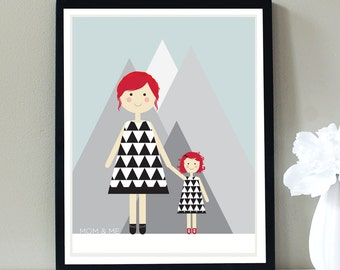 Custom Portrait, Mom and Daughter, Mommy and Me, Triangles, Geometric, Black and White