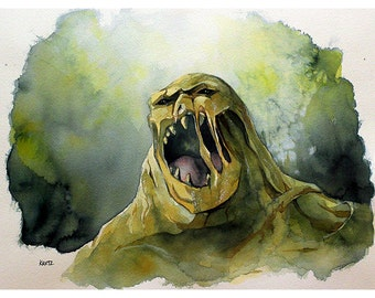 "Clayface Watercolor Painting - 9"" x 12"" Limited, #'d Edtion, Print run of 25"