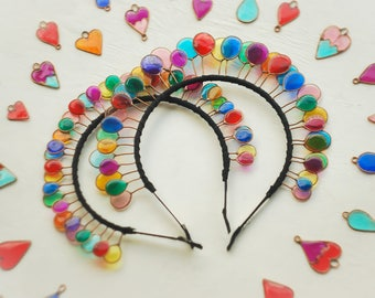 Ballon crown, Party crown, Birthday crown, Birthday diadem, Party diadem, Colored crown, Holiday crown, Queen crown, Party queen.