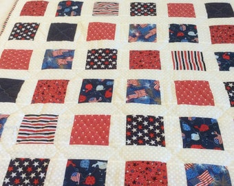 America Quilt, Red White and Blue quilt, patriotic quilt, nautical quilt,stars, anchors, flags, stripes, military quilt, lap quilt, hero