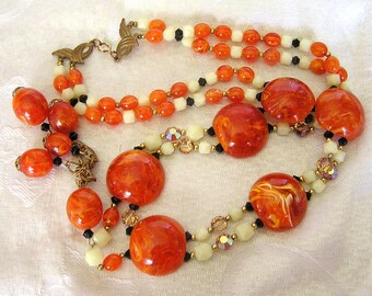 Vintage Double Strand 1950s or 60s Marbled Orange Lucite Necklace. (J47)