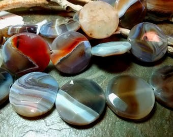 Botswana Agate, 25mm, Faceted Edge, Coins, Priced per Piece
