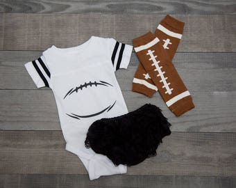 Infant Football Jersey Bodysuit | White
