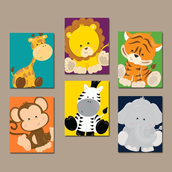 JUNGLE Animals Wall Art Jungle Animals Nursery Decor Safari