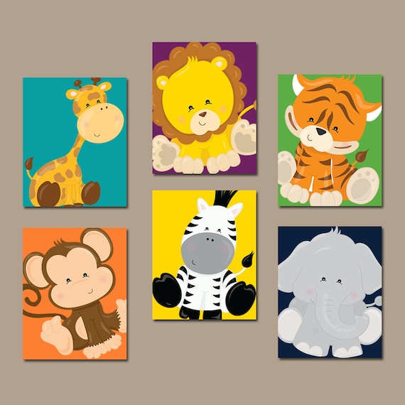 JUNGLE Animals Wall Art Jungle Animals Nursery Decor Safari  sc 1 st  Fastingforourfuture.org & Fine Nursery Animal Wall Art Pattern - Wall Art Collections ...