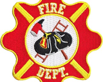 "Fire Department Crest Iron On Patch 3.5"" x 3"" Free Shipping by C&D Visionary P-4172"
