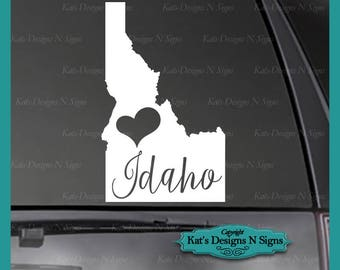 "Love Idaho State Vinyl Decal - 8-12"" Car/Truck/Window Sticker IDA-00003"