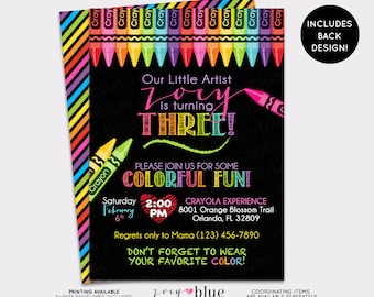 Chalkboard Art Party Birthday Invitation Crayon Painting Party Invite Girl birthday Coloring Invitation Striped Colorful - Digital File