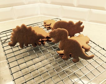 Dinosaur Sugar Cookies or Gingerbread - 1 Dozen (12) Ready to Decorate!  Non-GMO, organic ingredients - every order baked fresh!