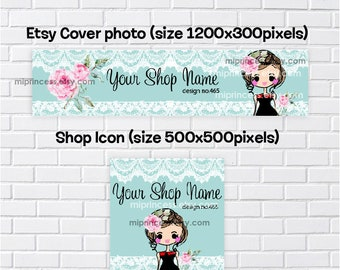 no465- girl banner,  banner set, girl hair bow accessories business, business shop banner, cover image, shop icon,  cute girl